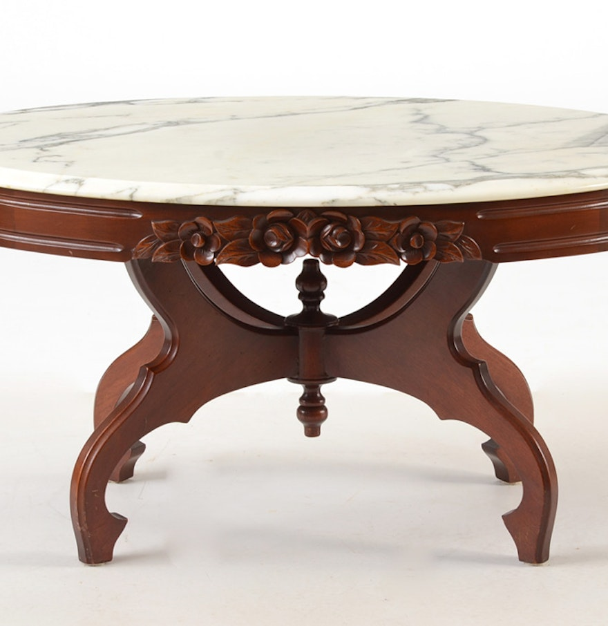 Victorian style marble top coffee table ebth for Stone topped coffee tables