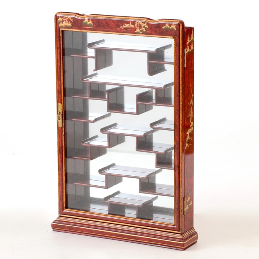 Asian Inspired Wall Mounted Curio Cabinet