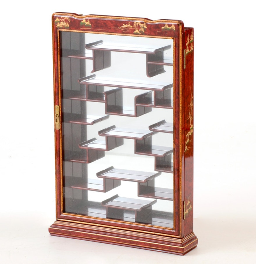 asian inspired wall mounted curio cabinet ebth. Black Bedroom Furniture Sets. Home Design Ideas