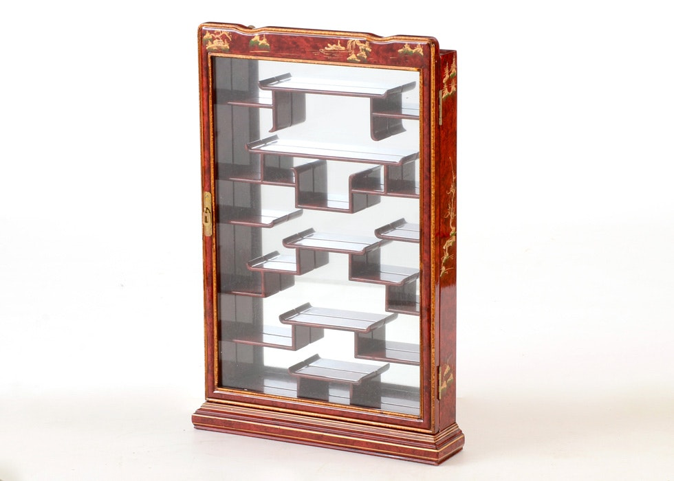 Asian Inspired Wall Mounted Curio Cabinet ...