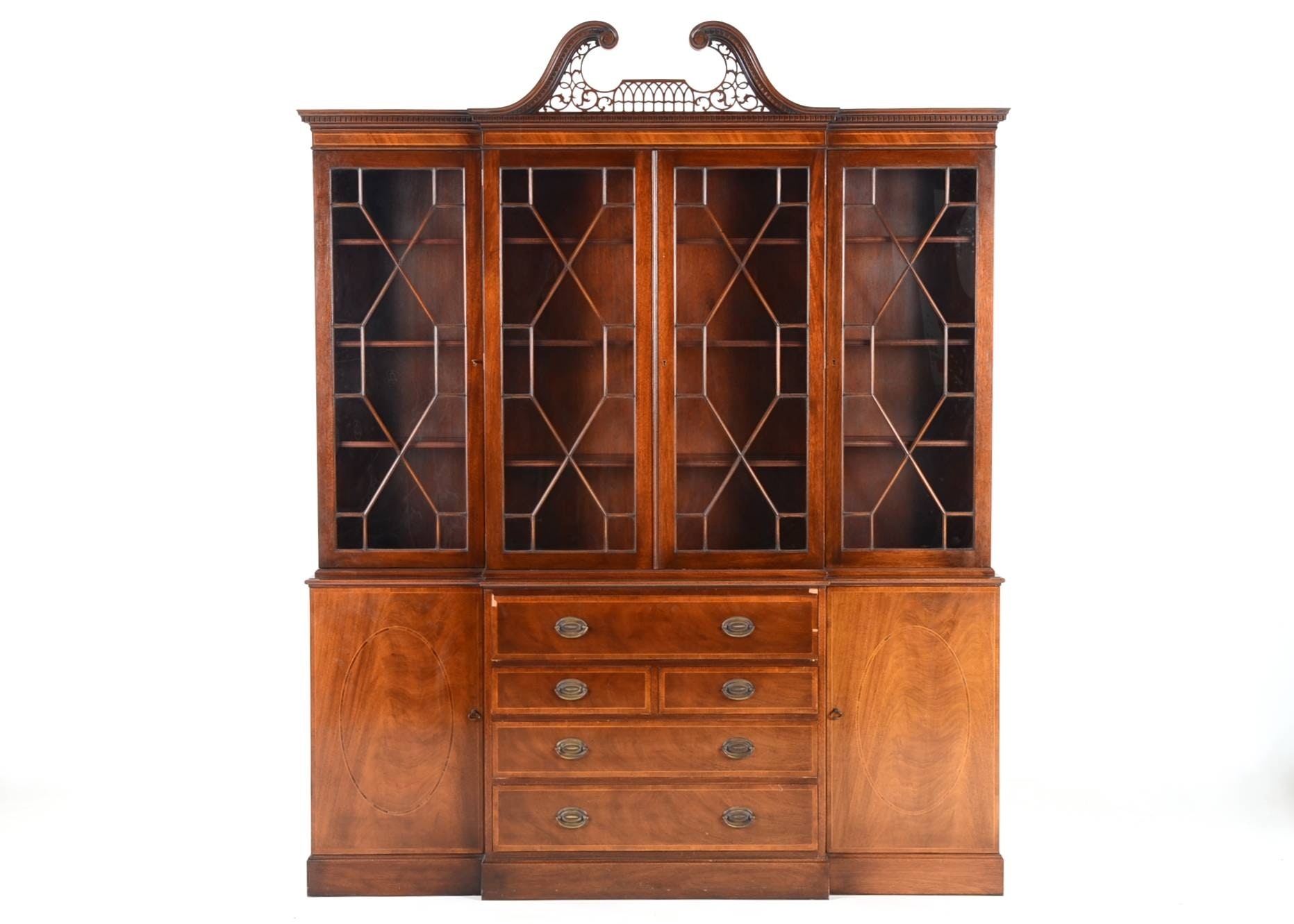 mixed veneer breakfront china cabinet - Antique Furniture For Sale