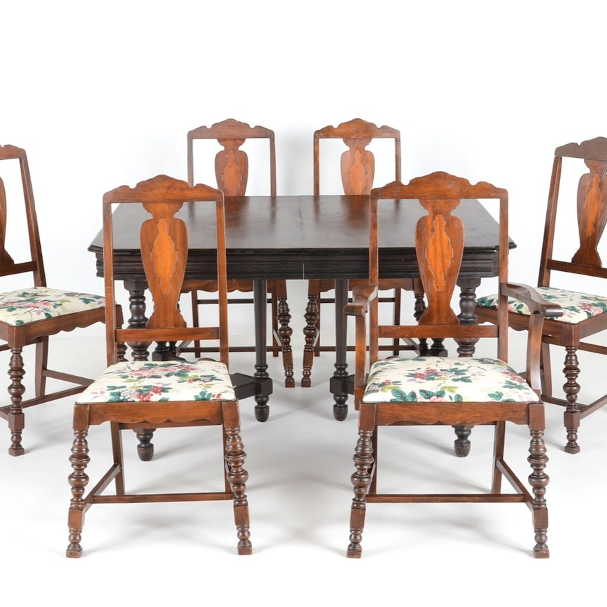 1920s Jacobean Style Dining Table And Chairs