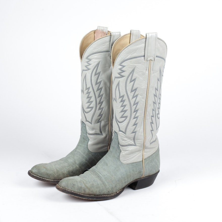 a9e1ddcf41b Gray Leather Larry Mahan Cowboy Boots