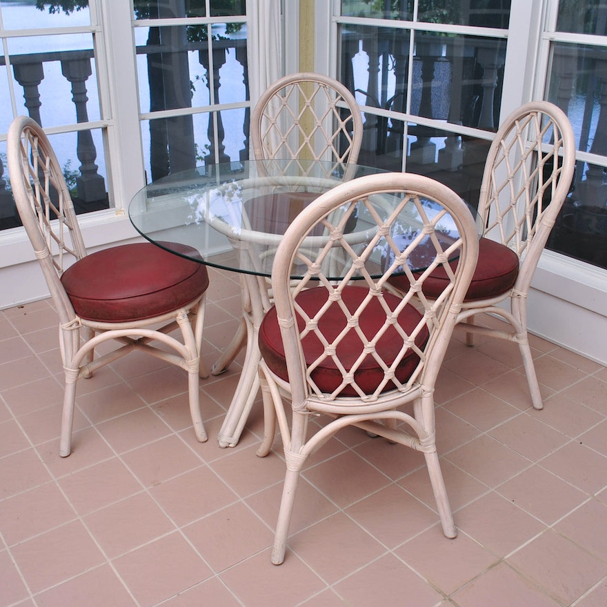 Clark Casual Rattan Round Glass Top Table And Four Chairs