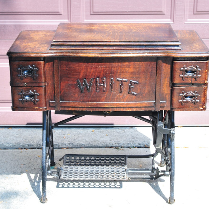 White Treadle Rotary Sewing Machine And Cabinet EBTH New Antique White Rotary Sewing Machine