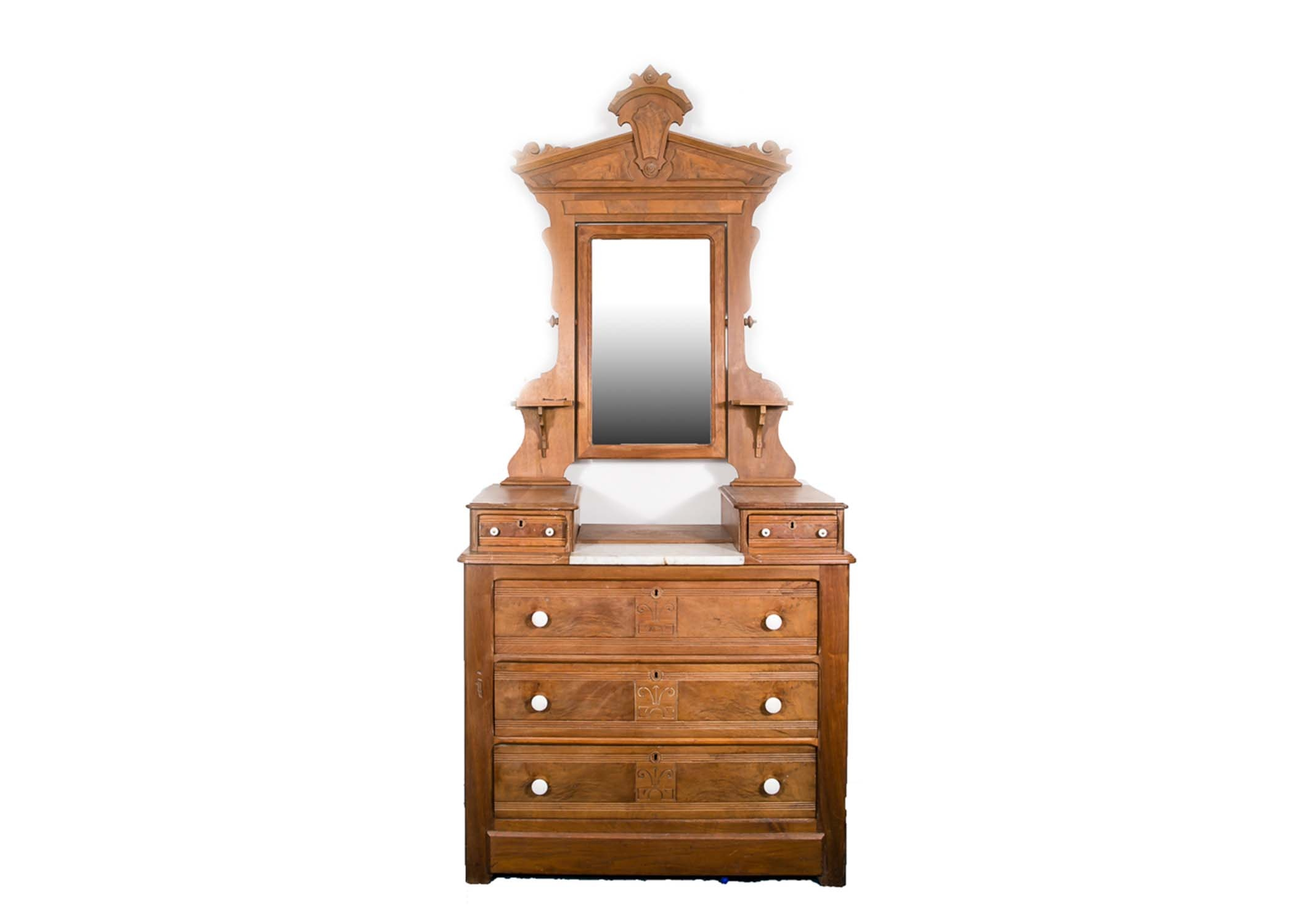 Antique Victorian Walnut Dresser And Mirror Ebth