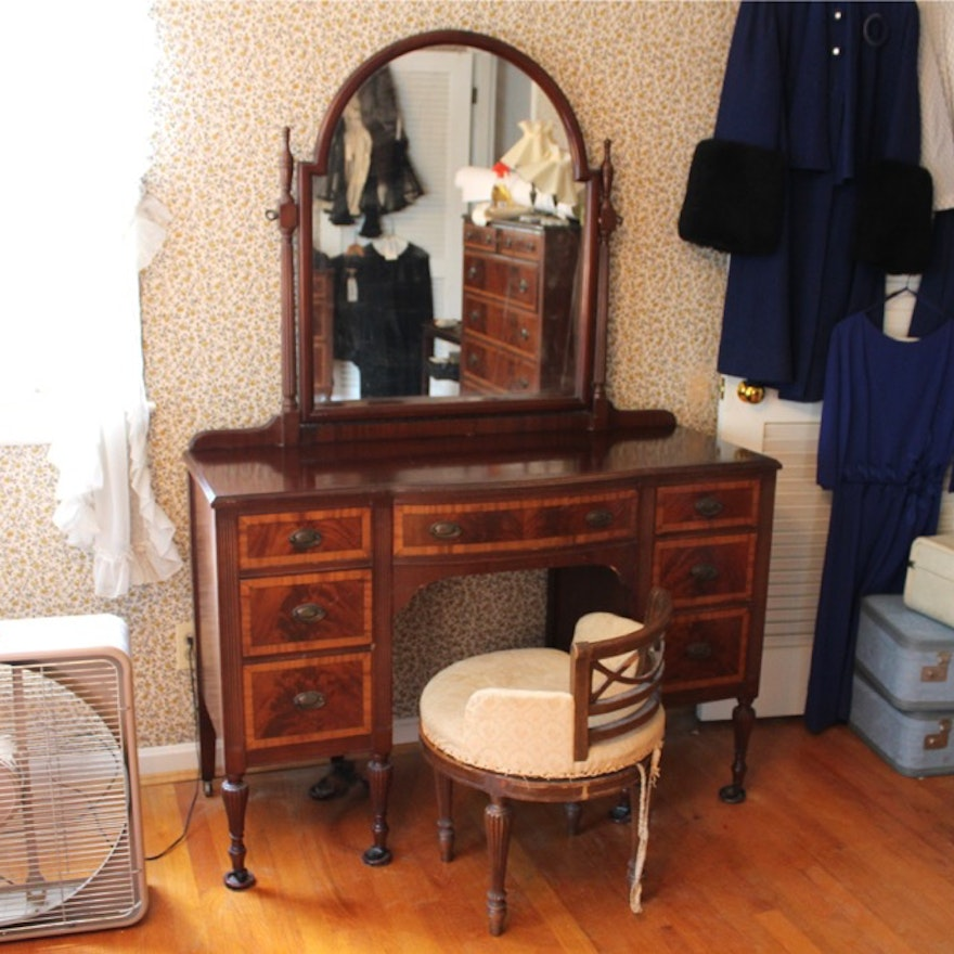 Astonishing 1920S Inlaid Wood Vanity Mirror And Stool Gamerscity Chair Design For Home Gamerscityorg