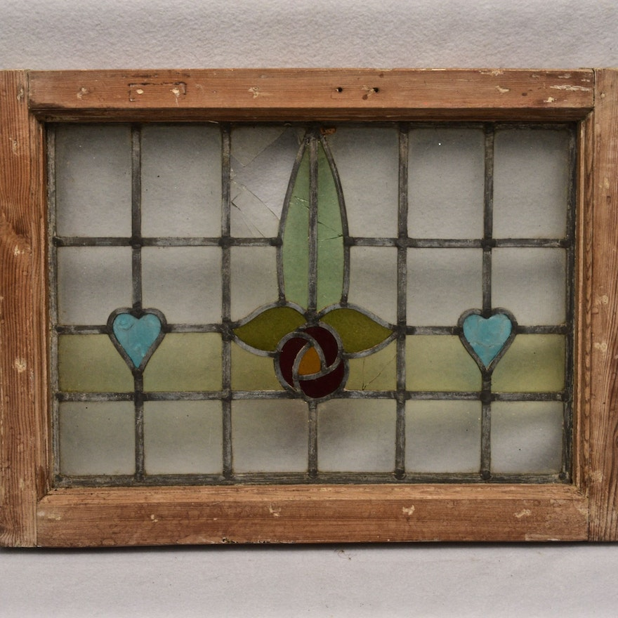 Small Vintage Stained Glass Window Ebth