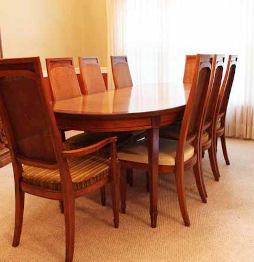 Lane Walnut Dining Room Table Ten Chairs Walnut Dining Room Chairs ...