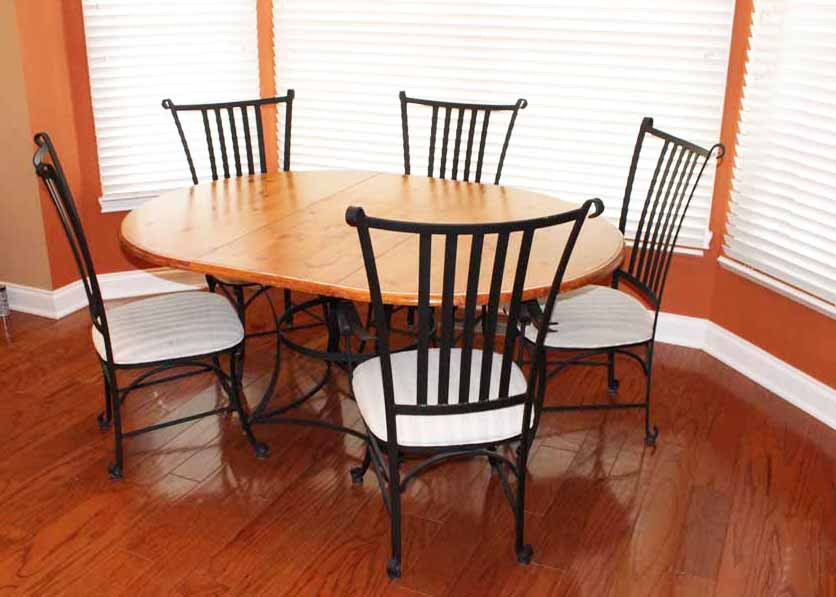 French Country Oak And Wrought Iron Dining Table With Five