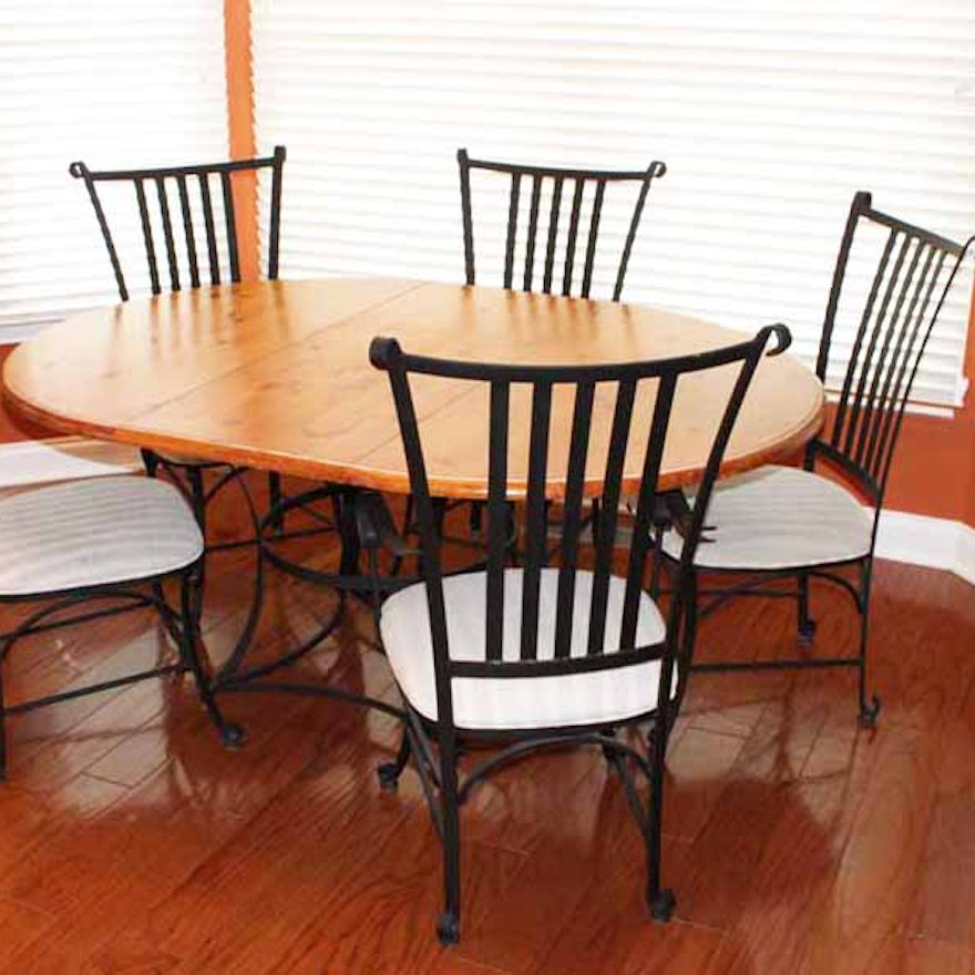 French Country Oak And Wrought Iron Dining Table With Five Chairs