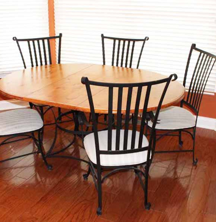 Iron Dining Chairs ~ French country oak and wrought iron dining table with five