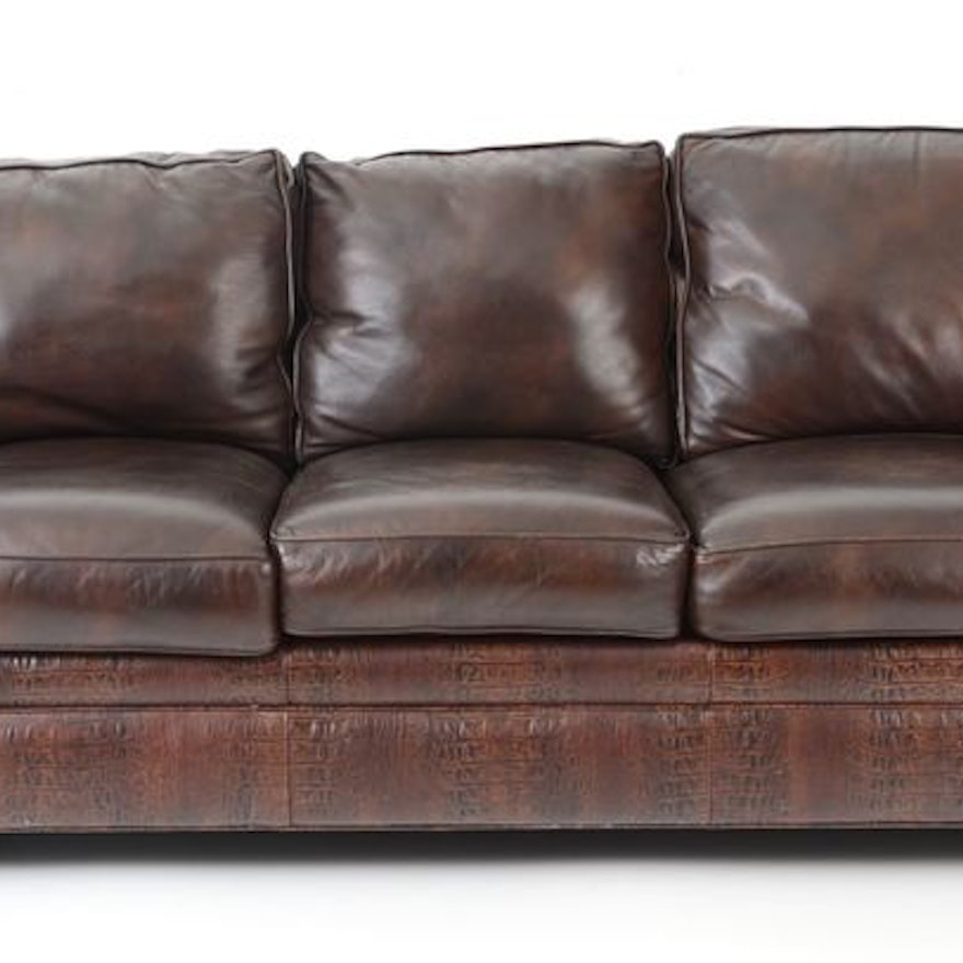 Astounding Hancock Moore Alligator Embossed Leather Sofa Ocoug Best Dining Table And Chair Ideas Images Ocougorg