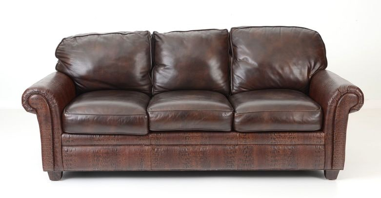 Hancock U0026 Moore Alligator Embossed Leather Sofa ...
