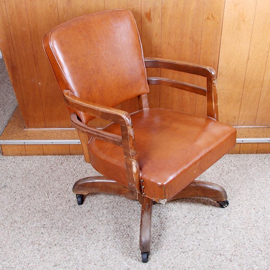 vintage vinyl and oak rolling office chair ebth