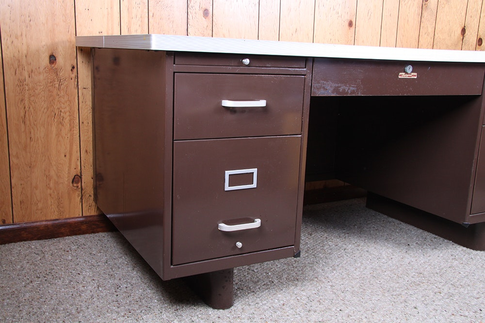 Vintage Wallace Furniture Hollywood Metal Office Desk Ebth