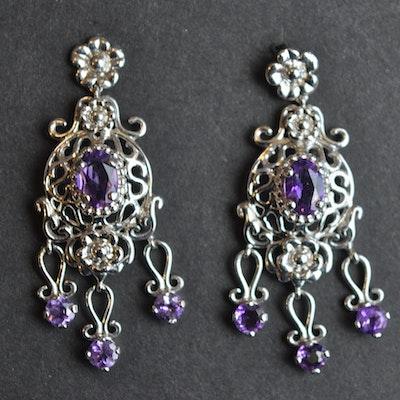 Vintage designer earrings online vintage earrings auction in fort amethyst and 14k white gold chandelier earrings aloadofball Choice Image
