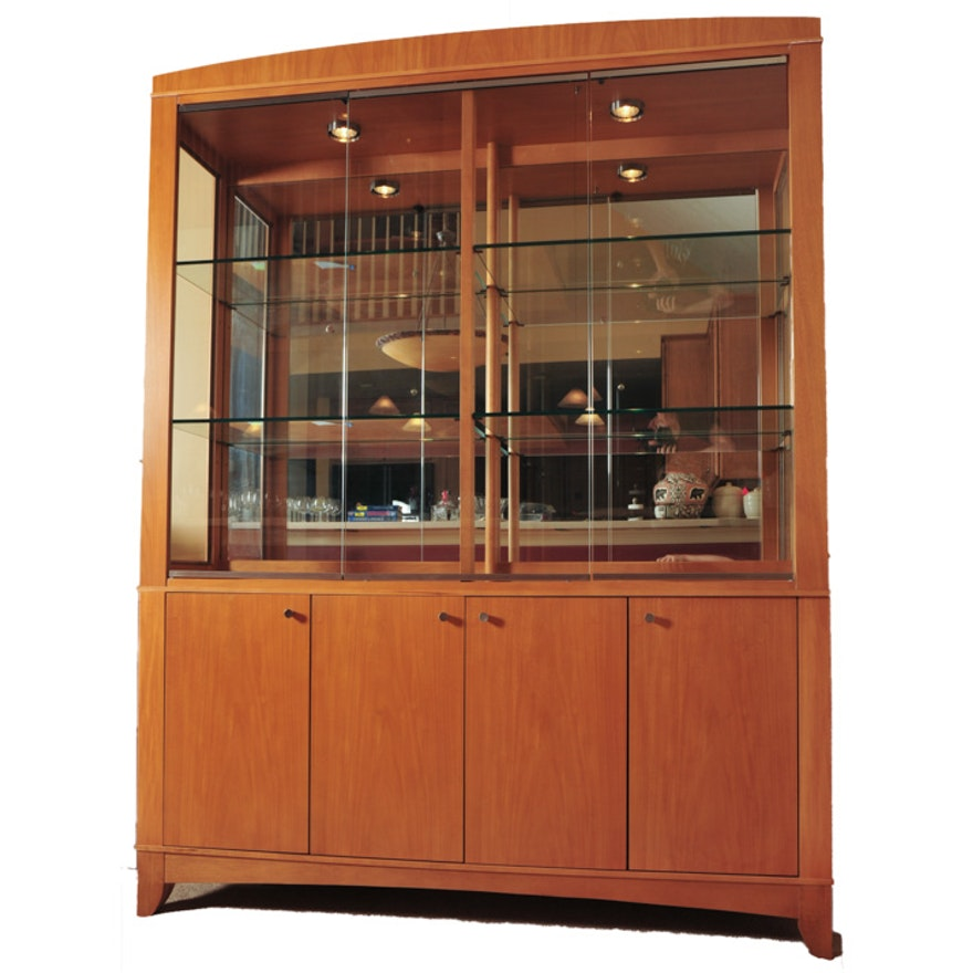 Blonde Ethan Allen Contemporary China Cabinet