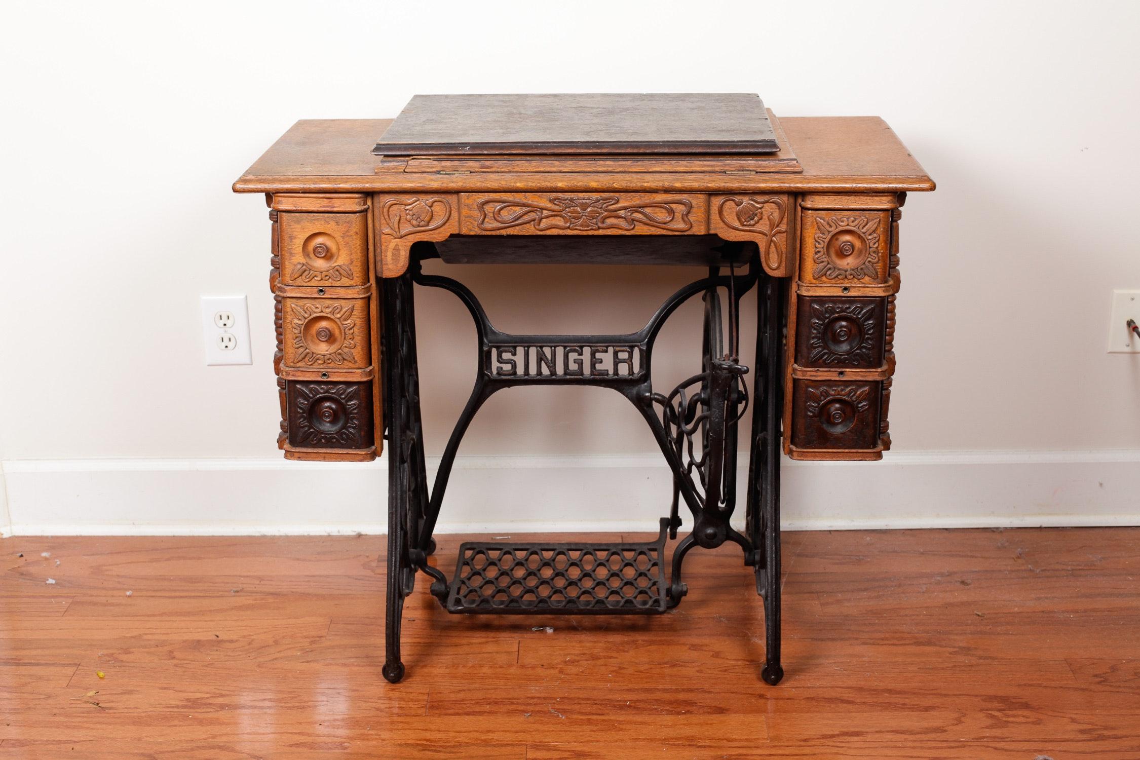 antique singer sewing machine cabinet ebth rh ebth com vintage singer sewing machine table antique singer sewing machine table
