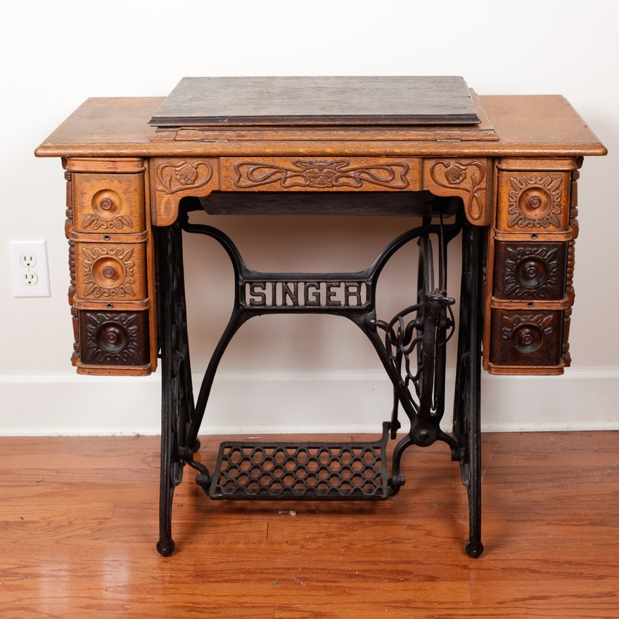 Antique Singer Sewing Machine Cabinet EBTH Magnificent Antique Sewing Machine Cabinets Singer