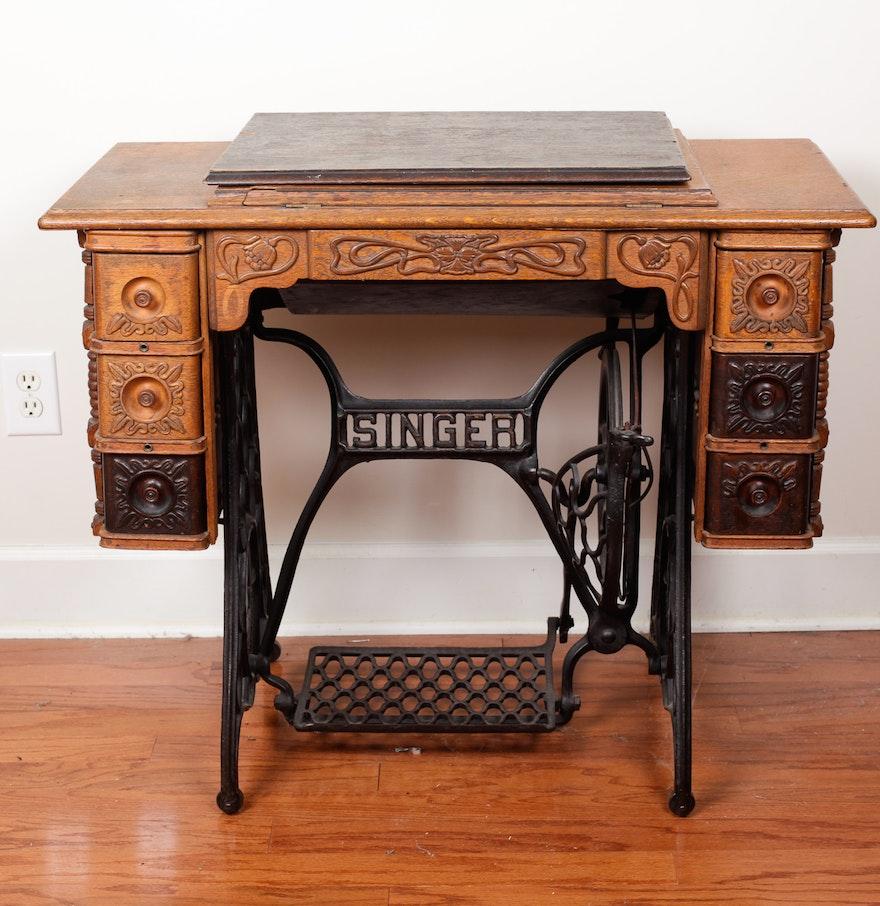 Antique Singer Sewing Machine Cabinet ... - Antique Singer Sewing Machine Cabinet : EBTH