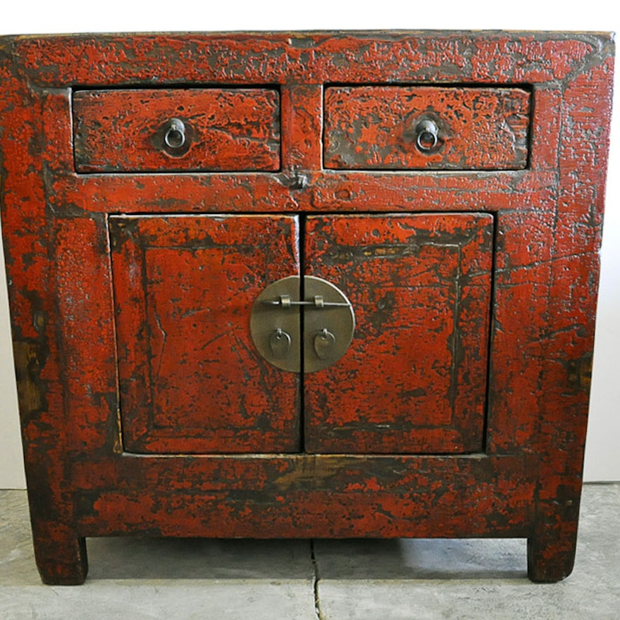 Antique Red Chinese Storage Cabinet