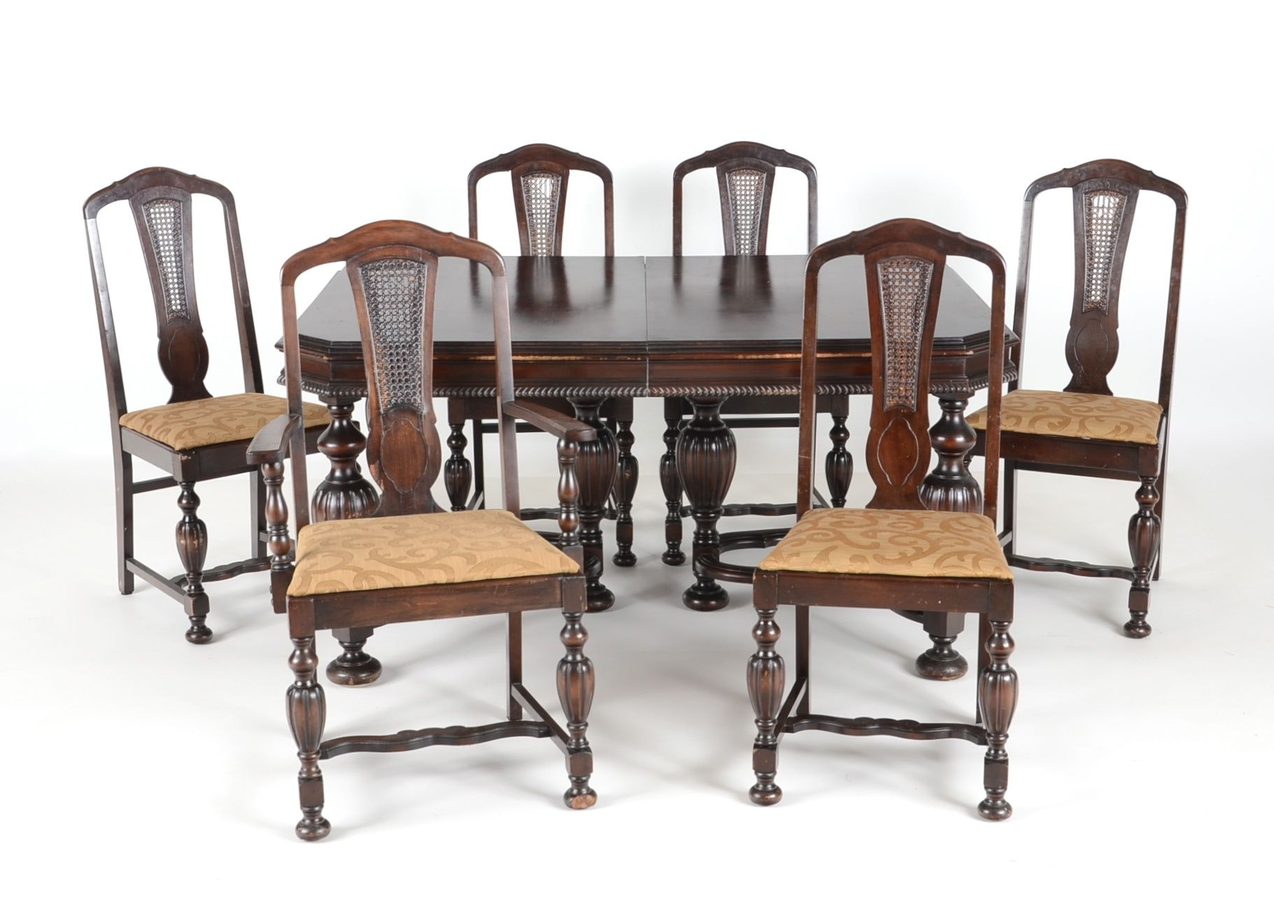 1920s Jacobean Style Dining Table And Six Chairs Ebth