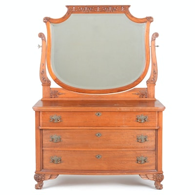 1890 Mahogany Dresser with Mirror - Online Furniture Auctions Vintage Furniture Auction Antique
