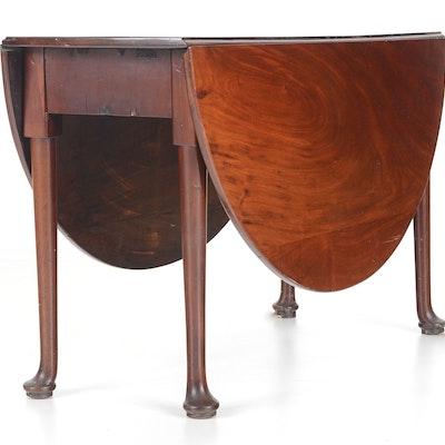 1780 English Queen Anne Drop-Leaf Table - Online Furniture Auctions Vintage Furniture Auction Antique