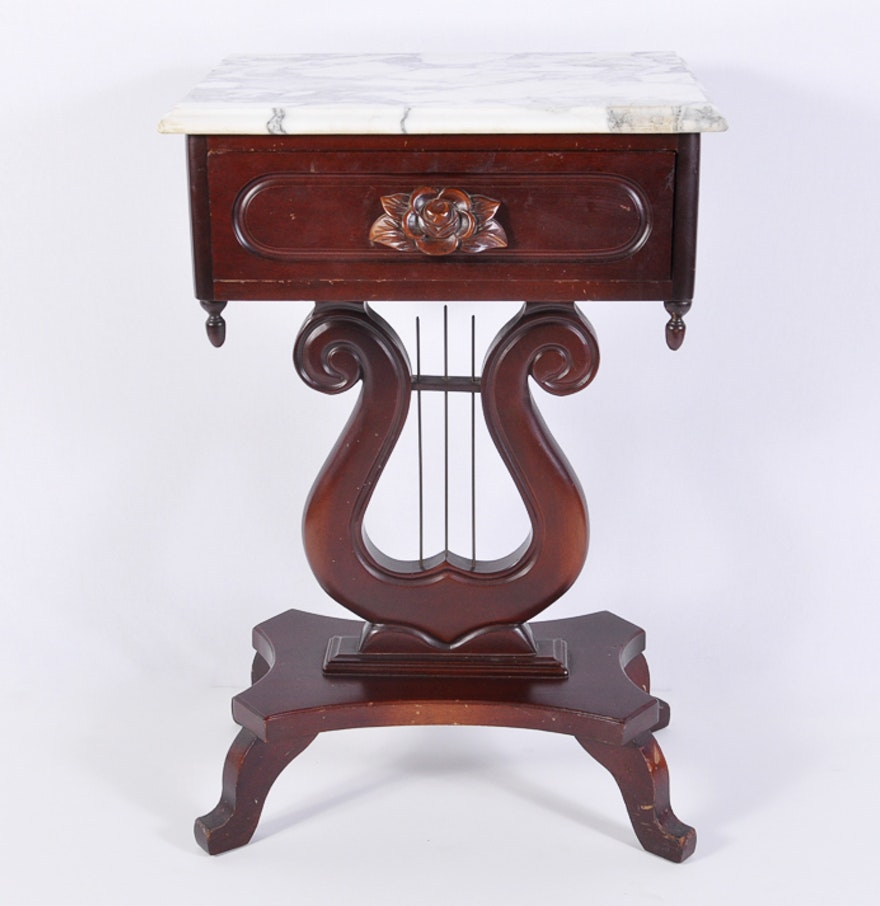 Mahogany Victorian Style Marble Top Side Table With Lyre