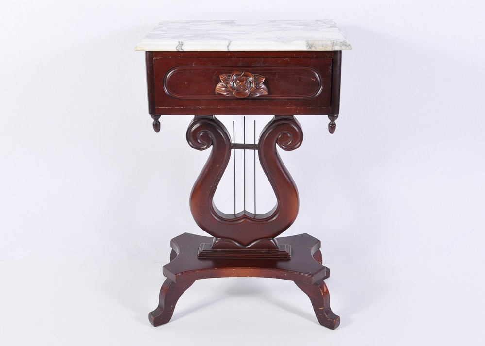 Mahogany Victorian Style Marble Top Side Table With Lyre ...