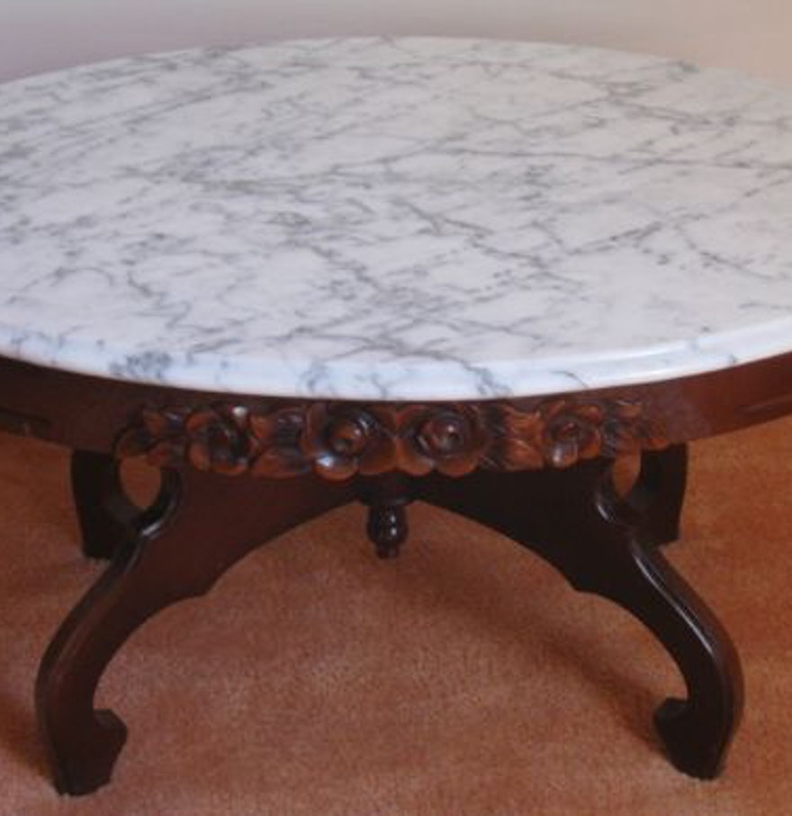 Marble top coffee table ebth for Marble top coffee table