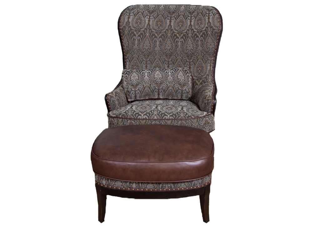 Superieur Arhaus Portsmouth Upholstered Chair And Ottoman In Pewter ...