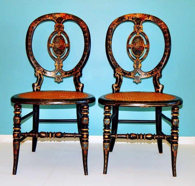 Antique Black Lacquered Hand Painted Small French Parlor Chairs ...