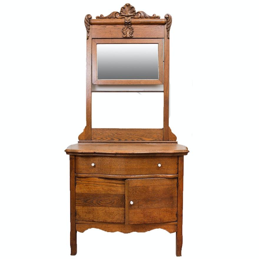 Antique Oak Wash Stand With Mirror Ebth
