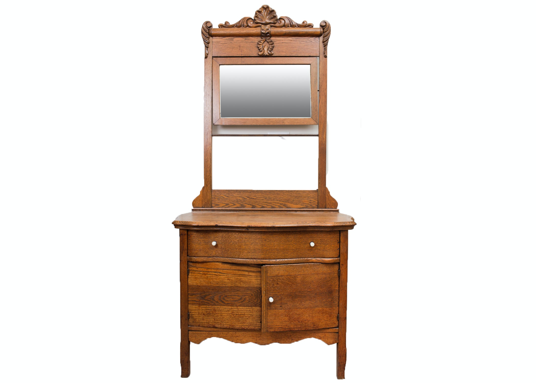 Antique Oak Wash Stand With Mirror ...