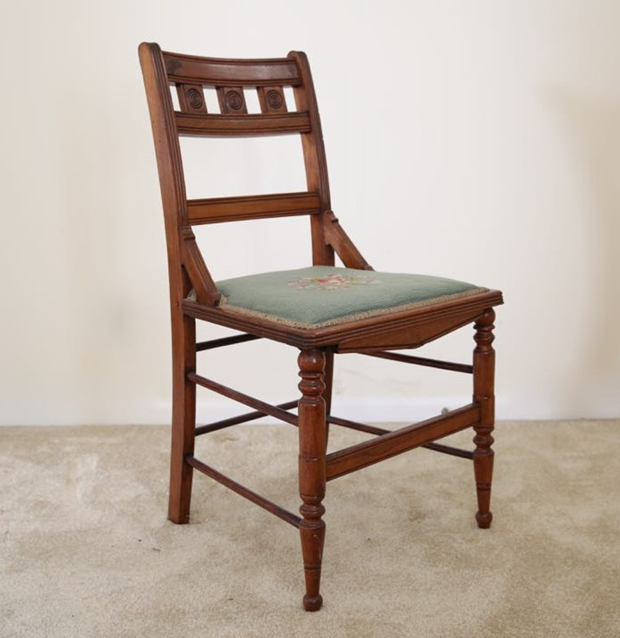 Eastlake Style Needlepoint Chair Ebth