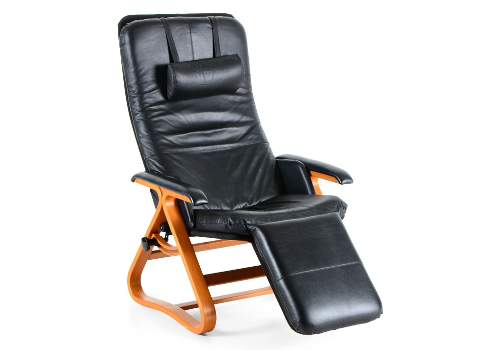 BackSaver Black Leather  Signature  Zero-Gravity Recliner Chair ...  sc 1 st  Everything But The House & BackSaver Black Leather