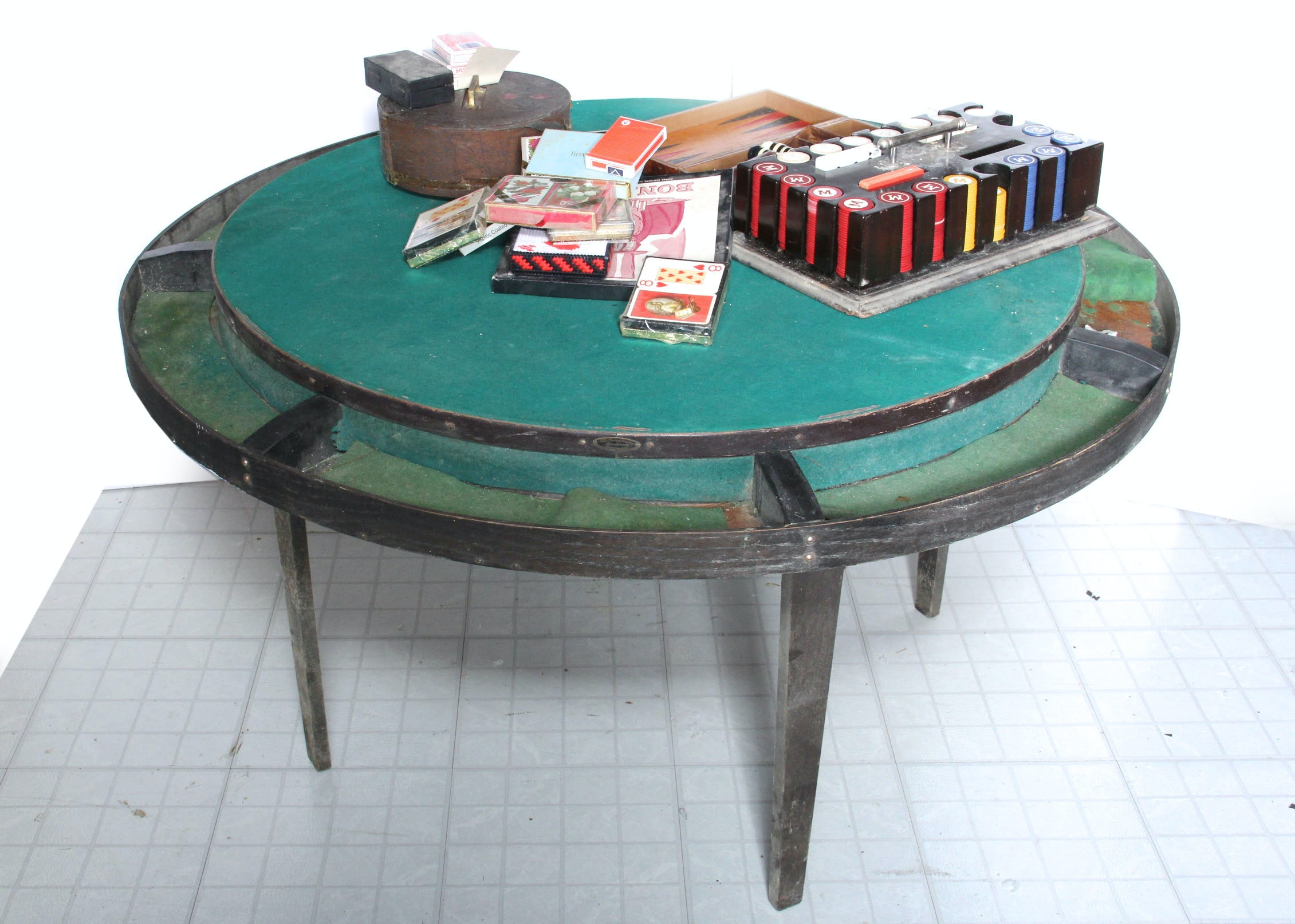 1925 Peerless Wold And Felt Card Game Table ...