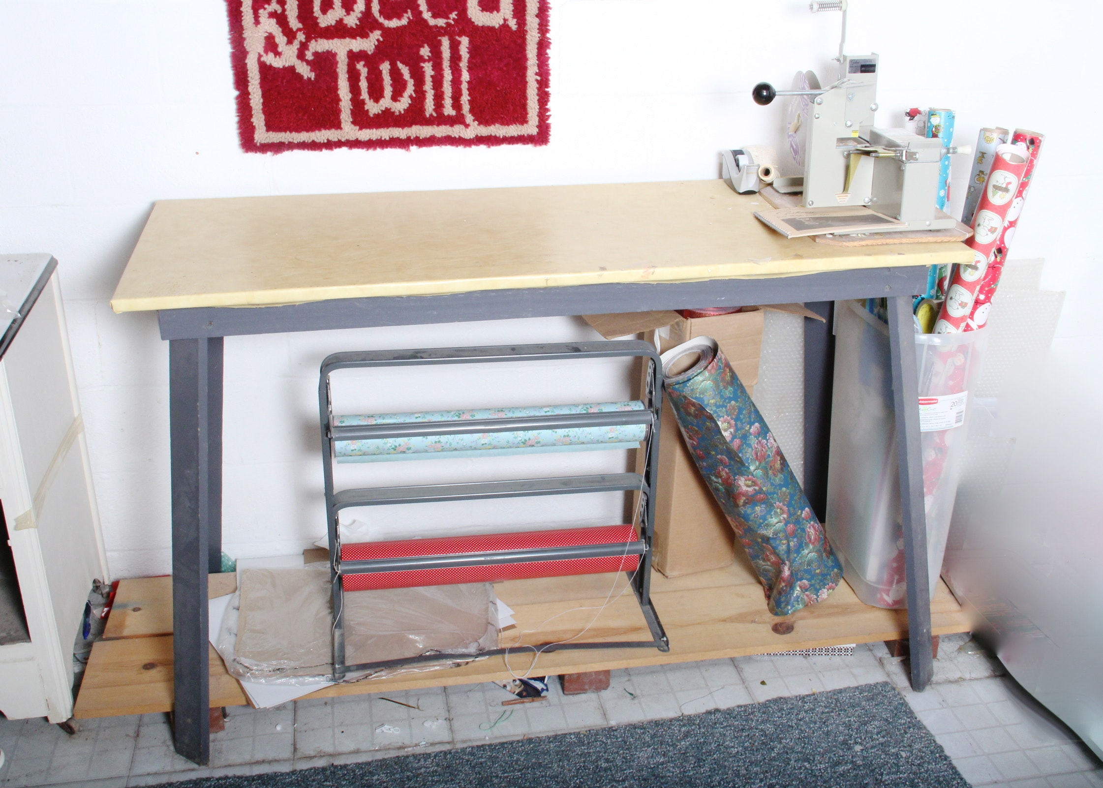 Gift Wrapping Station With Sasheen Bow Machine And Work Table ...