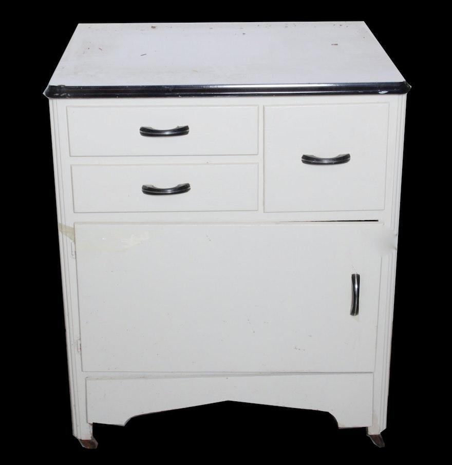Enamel Top Cabinet Vintage Enamel Top Cabinet Ebth