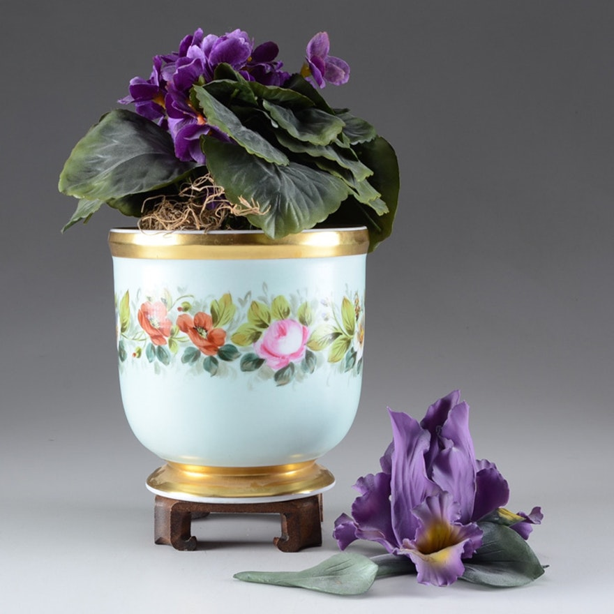 Capodimonte Iris and Porcelain Cache Pot : EBTH