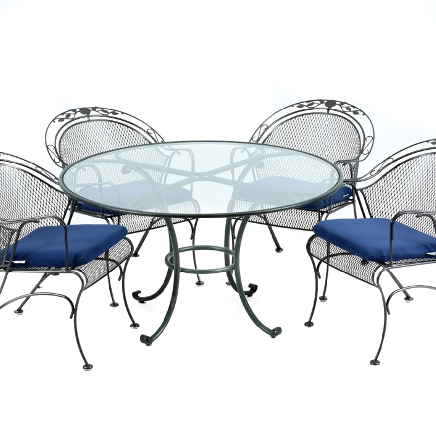 Woodard Patio Furniture Dinette Set With 4 Chairs And Cushions Ebth