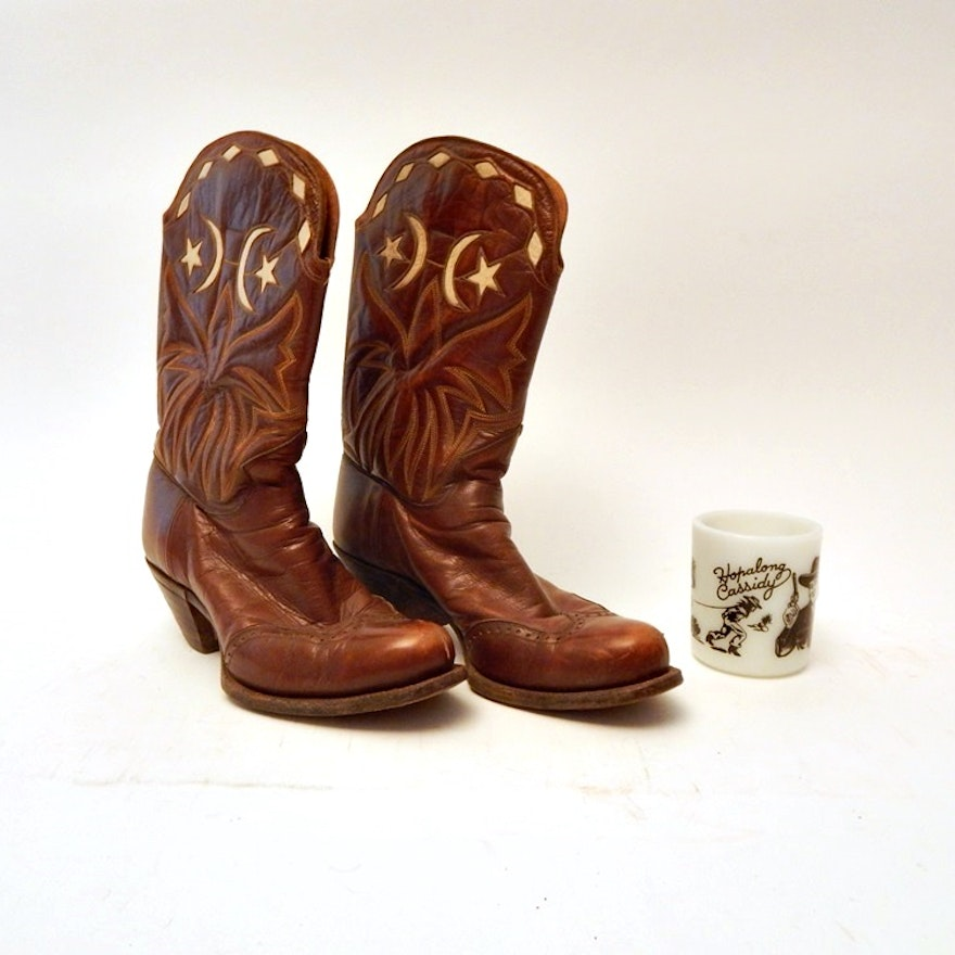 d19bcc6922d Vintage Girls Cowgirl Boots 1940's and Hop a Long Cassidy Cup