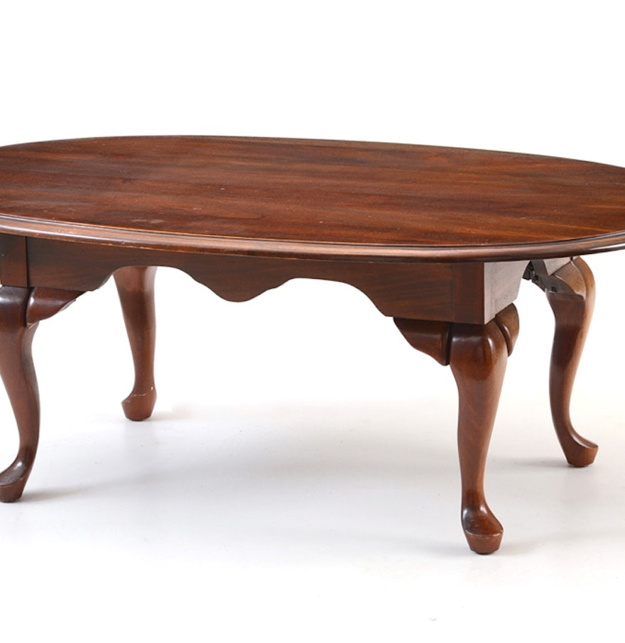 Solid cherry wood queen anne style oval coffee table ebth for Oval cherry wood coffee table