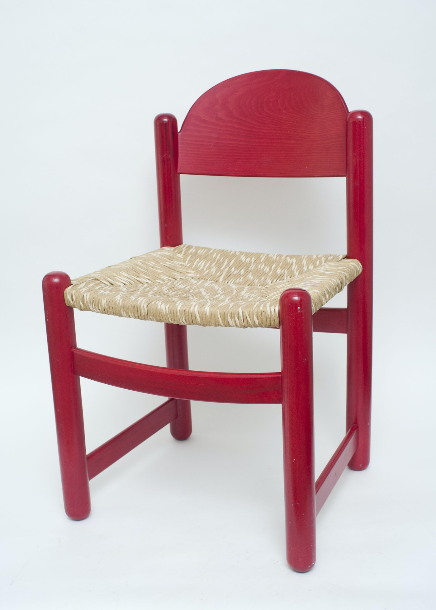 Child S Red Wooden Rush Seat Chair Ebth