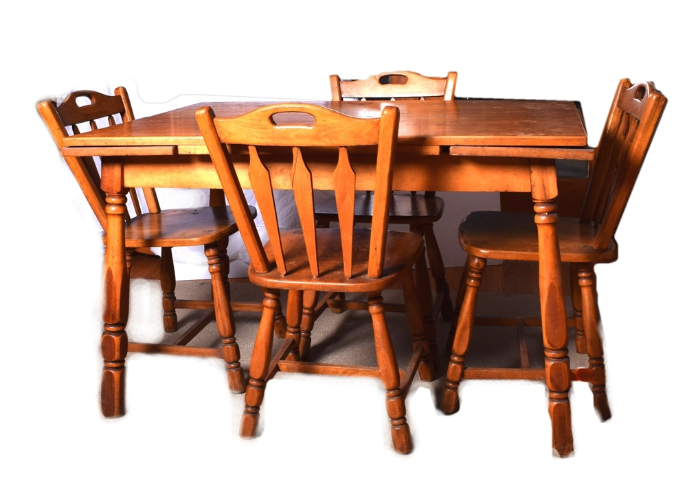 Maple Kitchen Table With Chair And Bench Ebth: Maple Draw-Leaf Dining Table And Chairs : EBTH