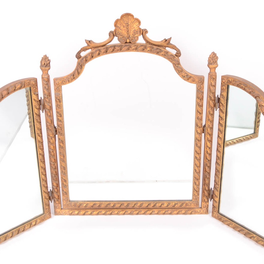 Antique Tri-fold Vanity Mirror ... - Antique Tri-fold Vanity Mirror : EBTH