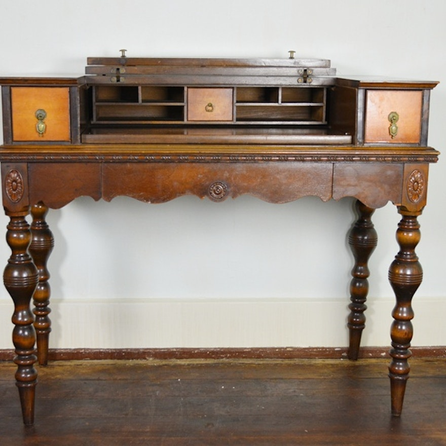 - Antique Spinet Style Flip-Top Walnut Writing Desk : EBTH