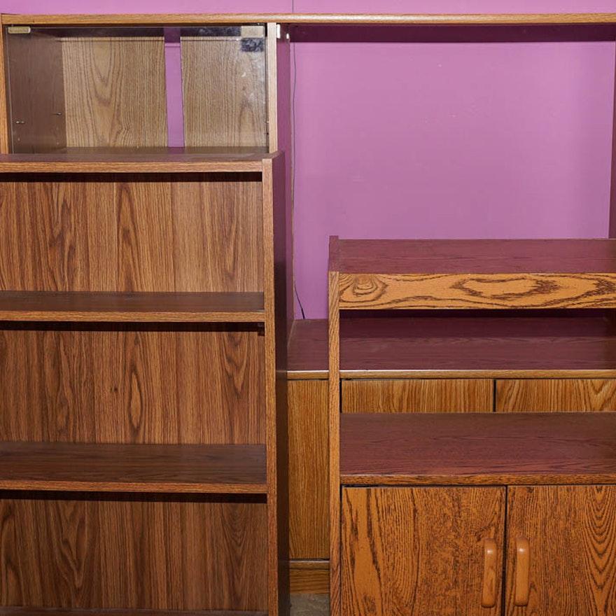 Wood Laminate Entertainment Center Bookshelf And Rolling Cart